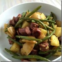 Sausage and green bean skillet
