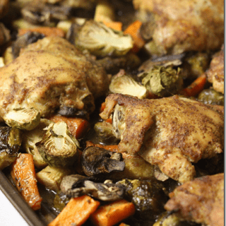Chicken and vegetables roasted on a sheet pan is a dream come true for busy weeknights.