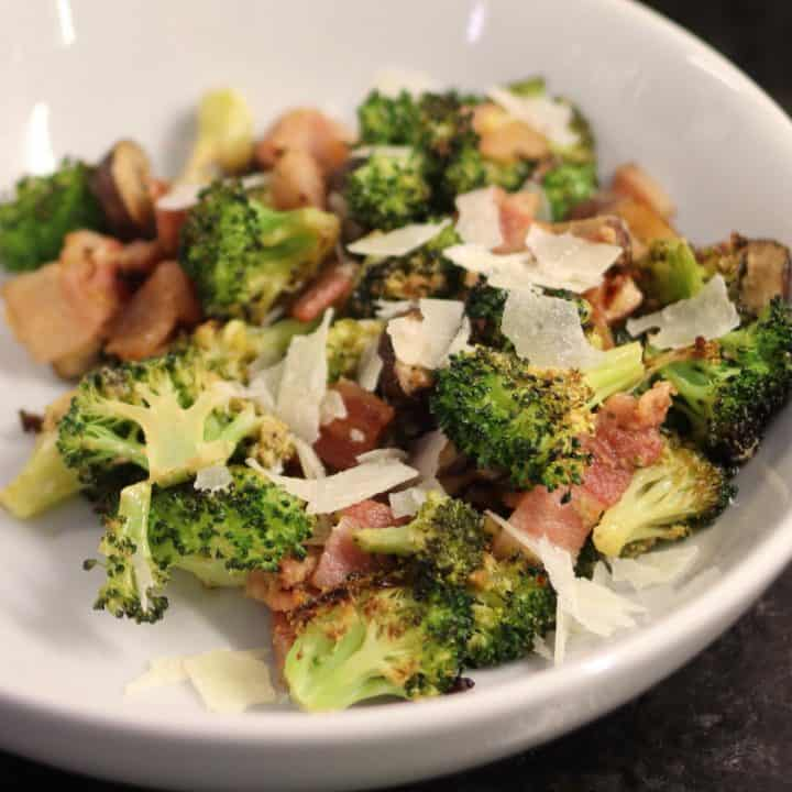 roasted broccoli, bacon, and mushrooms with shaved parmesan