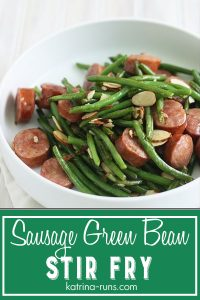 white bowl with sausage green bean stir fry